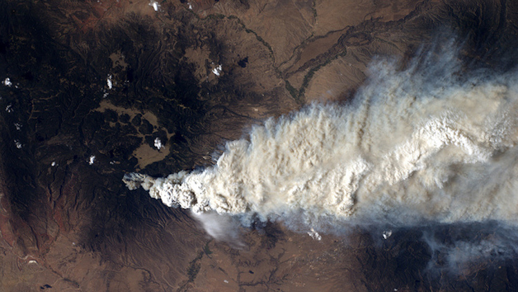 La Conchas Fire, seen from the International Space Station | Los Alamos National Laboratory